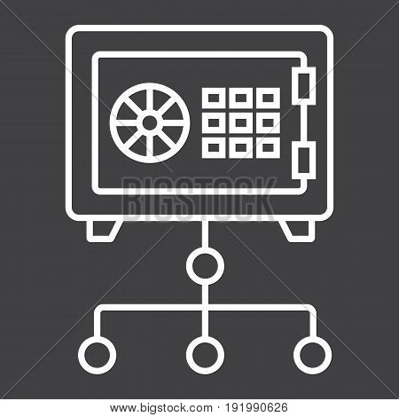 Network safe vault line icon, security and strongbox, vector graphics, a linear pattern on a black background, eps 10.