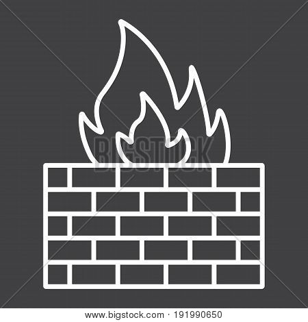 Firewall line icon, security and brick wall, vector graphics, a linear pattern on a black background, eps 10.