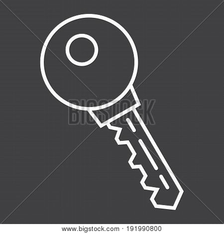 Key line icon, security and password, vector graphics, a linear pattern on a black background, eps 10.