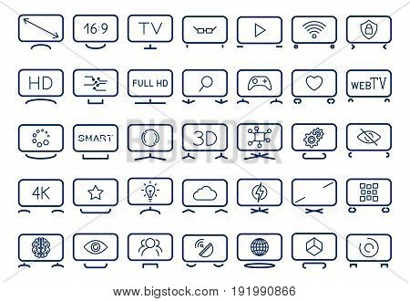 Smart Tv Icons Set, Flat Design, Vector Illustration. Icons Depicting Smart Tv With Different Stands