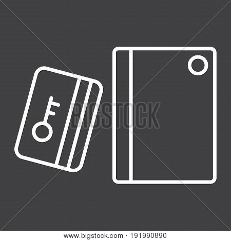 Swipe Card Reader With Keypad line icon, security access and electronic lock, vector graphics a linear pattern on a black background, eps 10.