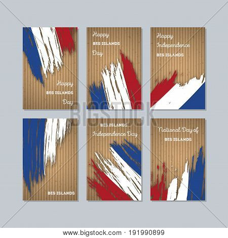 Bes Islands Patriotic Cards For National Day. Expressive Brush Stroke In National Flag Colors On Kra