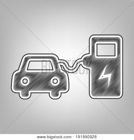 Electric car battery charging sign. Vector. Pencil sketch imitation. Dark gray scribble icon with dark gray outer contour at gray background.