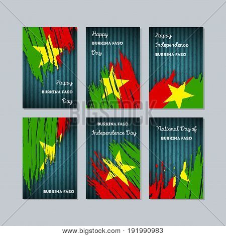 Burkina Faso Patriotic Cards For National Day. Expressive Brush Stroke In National Flag Colors On Da