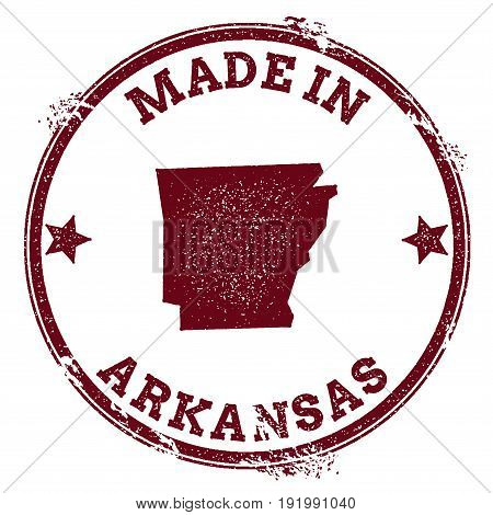 Arkansas Vector Seal. Vintage Usa State Map Stamp. Grunge Rubber Stamp With Made In Arkansas Text An