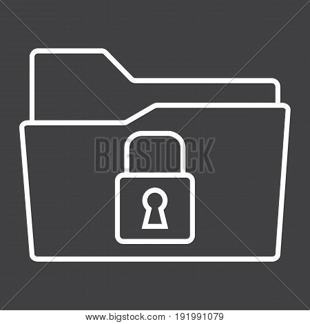 Secure data folder line icon, security and padlock, vector graphics, a linear pattern on a black background, eps 10.