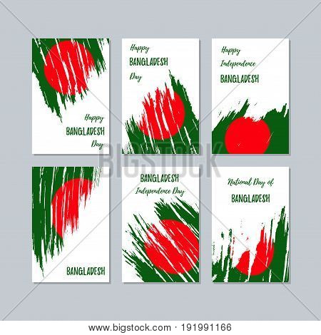 Bangladesh Patriotic Cards For National Day. Expressive Brush Stroke In National Flag Colors On Whit