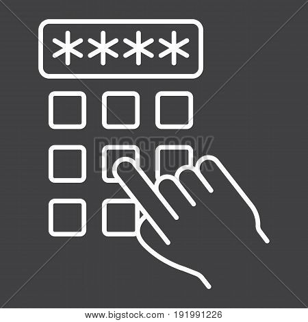 Hand finger entering pin code line icon, unlock and password, vector graphics, a linear pattern on a black background, eps 10.