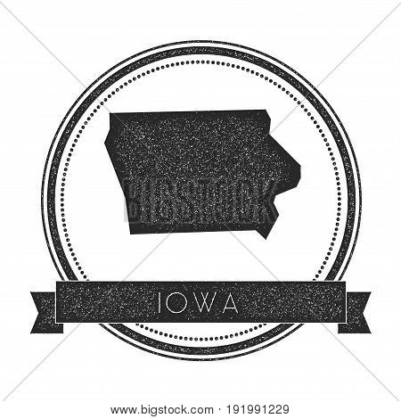 Iowa Vector Map Stamp. Retro Distressed Insignia With Us State Map. Hipster Round Rubber Stamp With