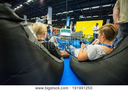 Cologne, Germany, August 13, 2014: Retro computers on gamescon. Gamescom is a trade fair for video games held annually at the Koelnmesse in Cologne.