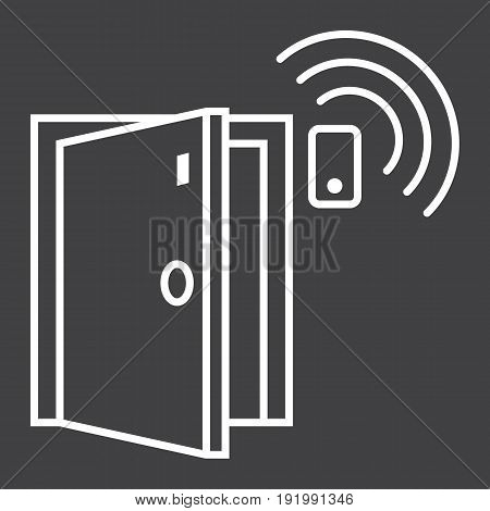 Door sensor line icon, security and alarm, vector graphics, a linear pattern on a black background, eps 10.