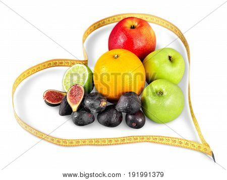 Measure tape fruits background colorful success fresh