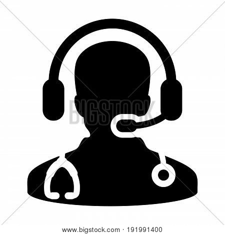 Doctor Icon Vector With Online Consultation And Support Wearing Headphone Contacting Physician Speci