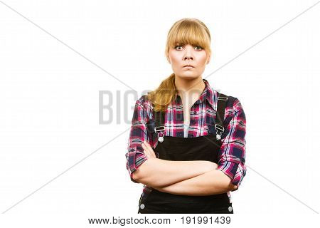 Angry Woman Wearing Dungarees And Check Shirt