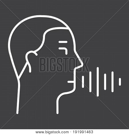 Speech recognition line icon, voice control and security, vector graphics, a linear pattern on a black background, eps 10.