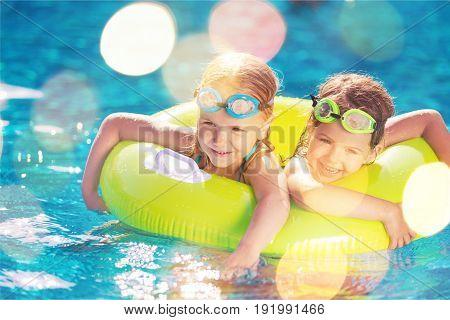 Pool beautiful girls swimming elementary age human emotions cute girls