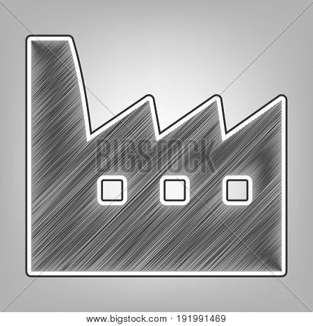 Factory sign illustration. Vector. Pencil sketch imitation. Dark gray scribble icon with dark gray outer contour at gray background.