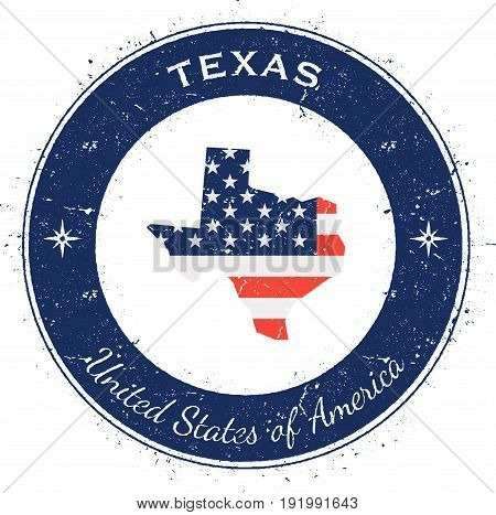 Texas Circular Patriotic Badge. Grunge Rubber Stamp With Usa State Flag, Map And The Texas Written A