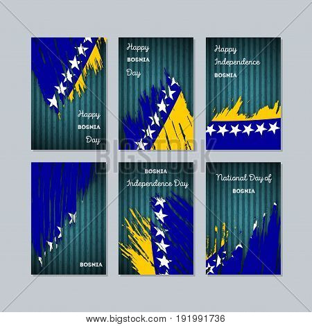 Bosnia Patriotic Cards For National Day. Expressive Brush Stroke In National Flag Colors On Dark Str