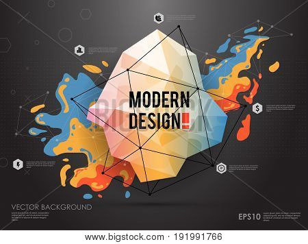 Modern abstract background with paint spot and geometric gemstone.