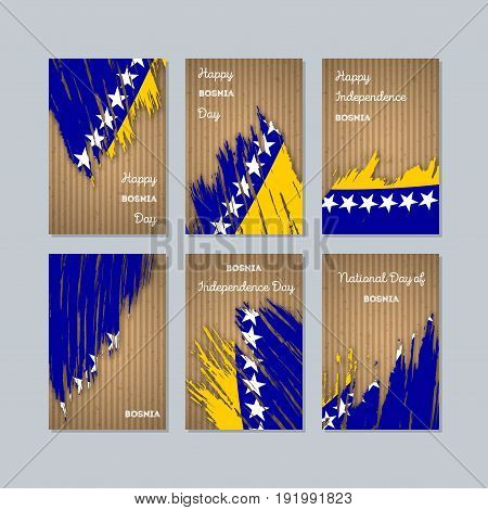 Bosnia Patriotic Cards For National Day. Expressive Brush Stroke In National Flag Colors On Kraft Pa