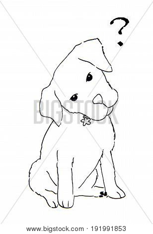 Hand Drawn dog with question mark, dog sketch on white background
