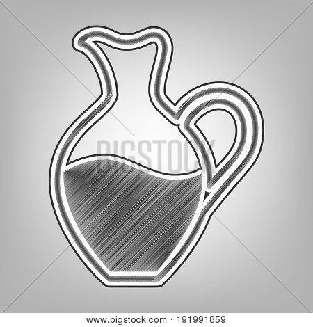 Amphora sign. Vector. Pencil sketch imitation. Dark gray scribble icon with dark gray outer contour at gray background.