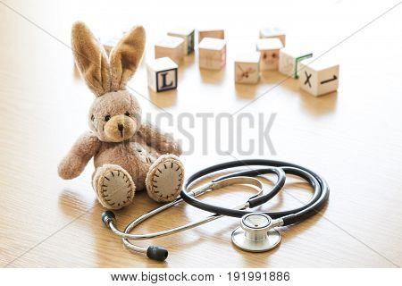 Toy stethoscope rabbit white background object nobody