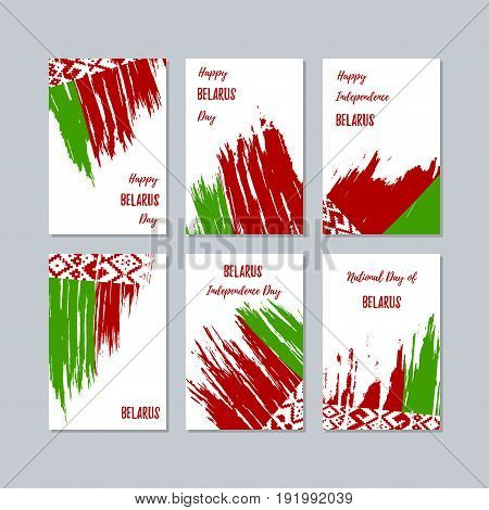 Belarus Patriotic Cards For National Day. Expressive Brush Stroke In National Flag Colors On White C
