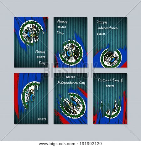 Belize Patriotic Cards For National Day. Expressive Brush Stroke In National Flag Colors On Dark Str