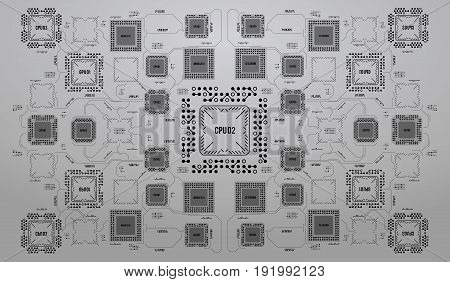 Modern Background with futuristic user interface. Electronic computer hardware technology. Motherboard digital chip. Integrated communication processor. Information engineering component.