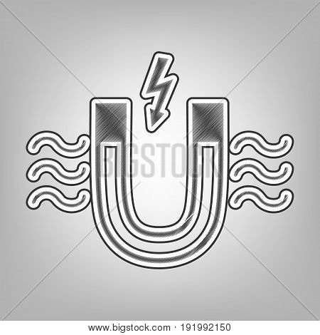 Magnet with magnetic force indication. Vector. Pencil sketch imitation. Dark gray scribble icon with dark gray outer contour at gray background.