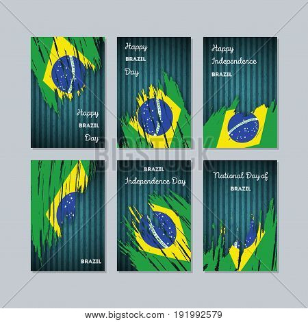 Brazil Patriotic Cards For National Day. Expressive Brush Stroke In National Flag Colors On Dark Str