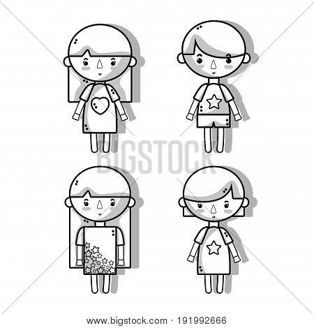 set children with hairstyle and pijamas vector illustration