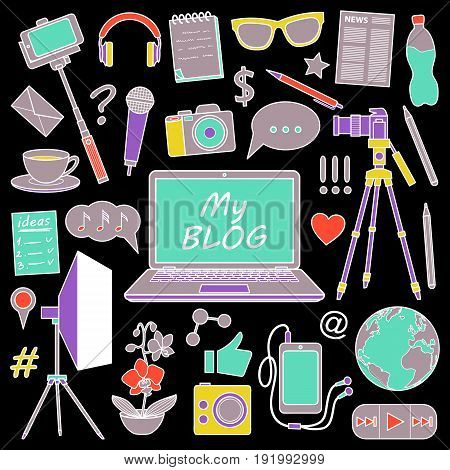 My Blog object set on black background. Vector colorful pattern with blogging elements for covers, web banners.