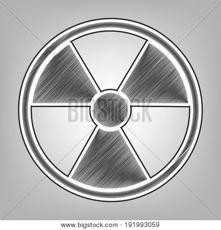 Radiation Round sign. Vector. Pencil sketch imitation. Dark gray scribble icon with dark gray outer contour at gray background.