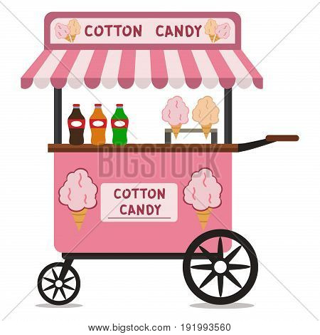 Vector flat illustration of Cotton Candy cart. Sugar stand food business dessert snack sweet stall kiosk cotton candy cart shop store market.