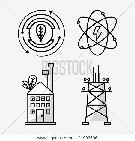 set energy technology cicle generation vector illustration