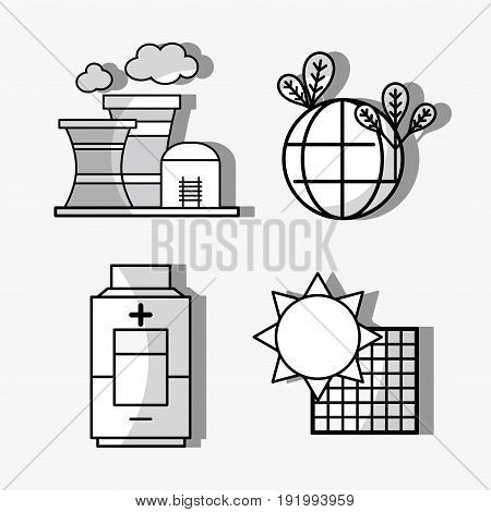 set energy technology to conservation the planet vector illustration