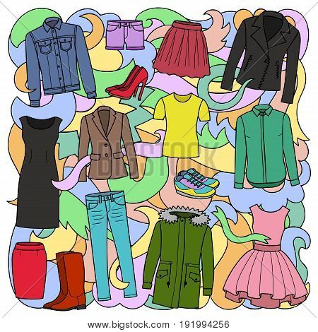 Vector illustration of hand drawn woman clothes and shoes on abstract wave background. Colorful pattern for covers, textile prints, posters.