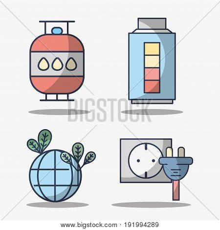 set electronics elements to use energy vector illustration