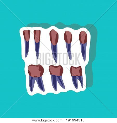 tooth paper sticker on stylish background medical