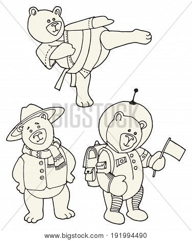 Teddy Bear on different roles - Karate Bear Traveler Bear and Astronaut Bear hand drawn vector illustration
