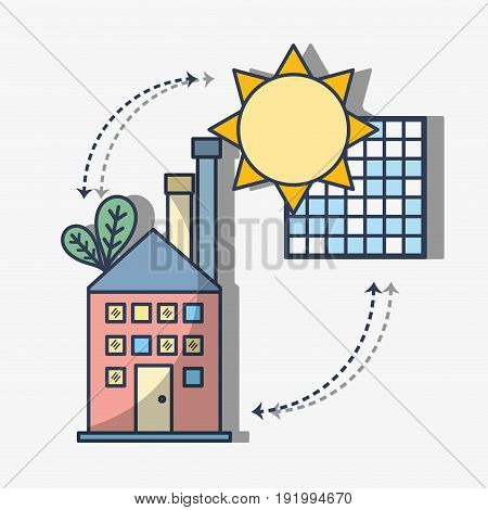 factory with solar energy with leaves vector illustration