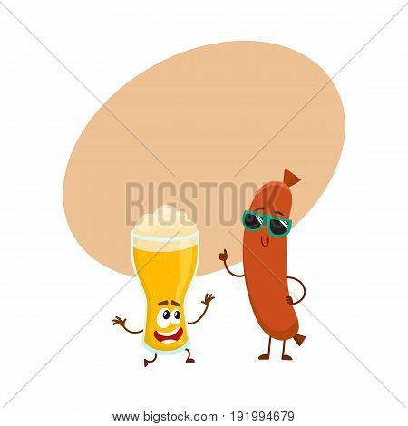 Funny beer glass and frankfurter sausage characters having fun together, cartoon vector illustration with space for text. Funny smiling beer glass character and sausage poiting to it