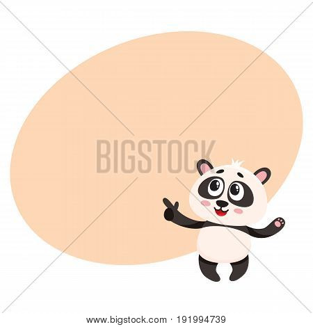 Funny smiling baby panda character pointing to something with finger, cartoon vector illustration with space for text. Cute little panda bear character, mascot pointing. showing something