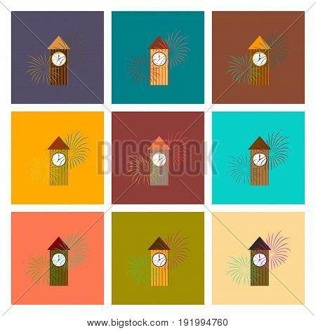 assembly of flat illustration Christmas clock midnight