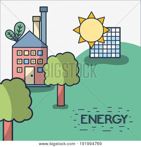 factory with solar energy and trees vector illustration