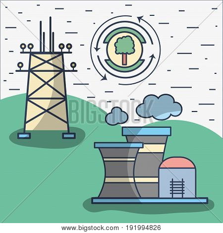 factory pollution with energy tower and tree symbol vector illustration