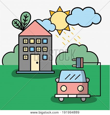 house and firetruck with power cable vector illustration
